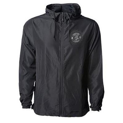 Front of black wind breaker jacket with small seven seas logo on top left