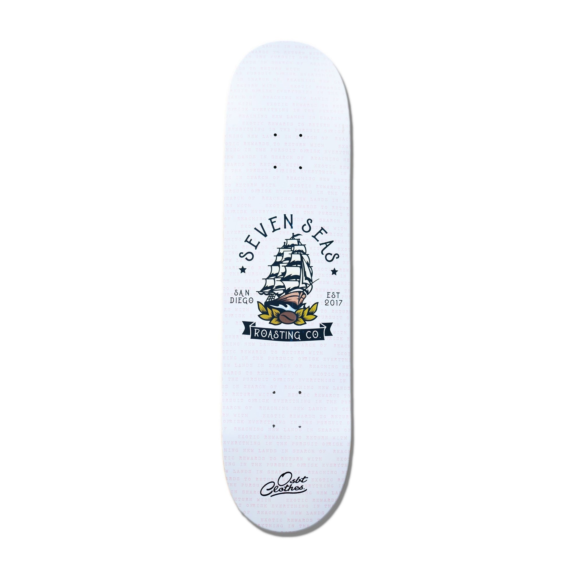 bottom of white skateboard deck with seven seas logo large in the middle in collaboration with OSBT clothing