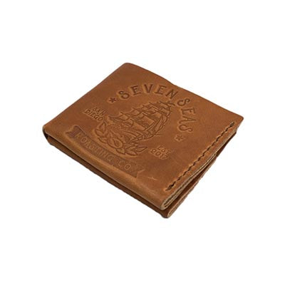 Brown leather wallet with seven seas logo branded on front of wallet