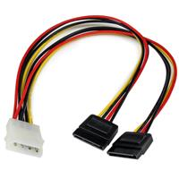 12in LP4 to 2x SATA Power Y Cable Adapter