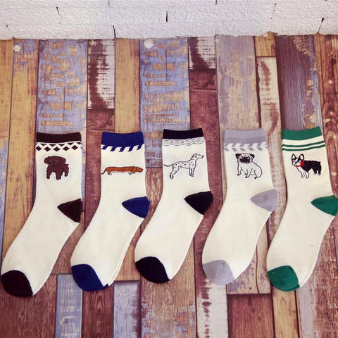 Comfy Cartoon Dog Men's Crew Socks by SayItWithSocks.co