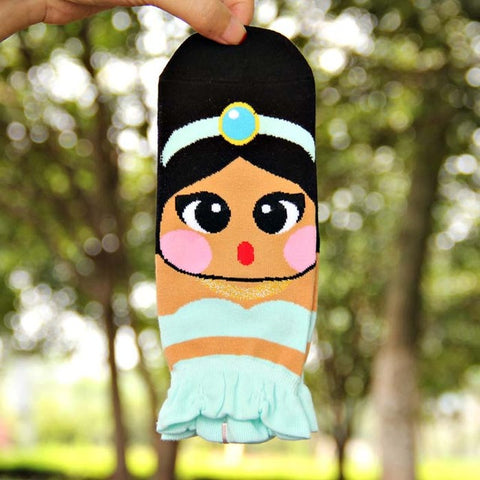 Image of Cute Princess Cartoon Girl's Ankle Socks by SayItWithSocks.co