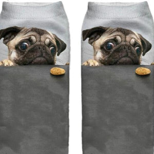 Cute Pug Dog Printed Unisex Ankle Socks by SayItWithSocks.co
