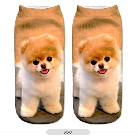 Image of Cute Pug Dog Printed Unisex Ankle Socks by SayItWithSocks.co