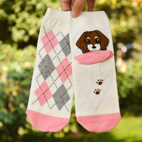 Image of Lovely Puppy Socks Women's Ankle Socks by SayItWithSocks.co
