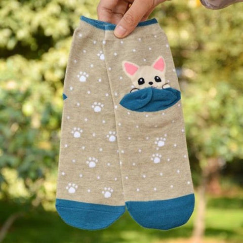 Lovely Puppy Socks Women's Ankle Socks by SayItWithSocks.co