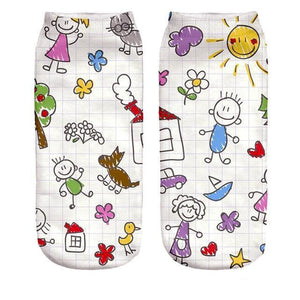 Happy Sketch Printed funny Women's Ankle Socks by SayItWithSocks.co