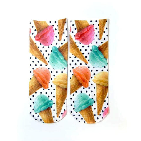 Multi-Colored Ice Cream Cone Printed Women's Ankle Socks
