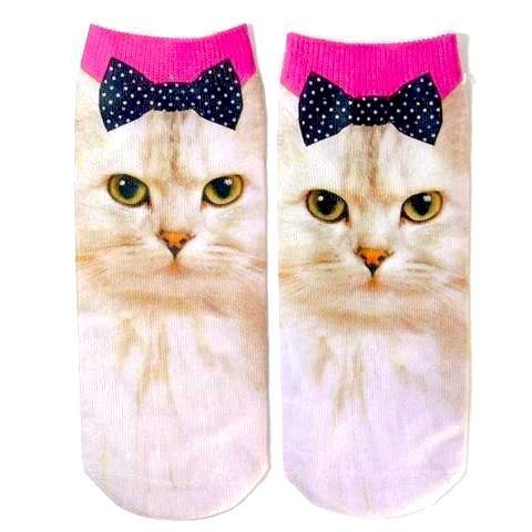White Cat with Bow Printed Cute Women's Ankle Socks by SayItWithSocks.co