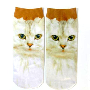 White Cat Printed Lovely Women's Ankle Socks by SayItWithSocks.co