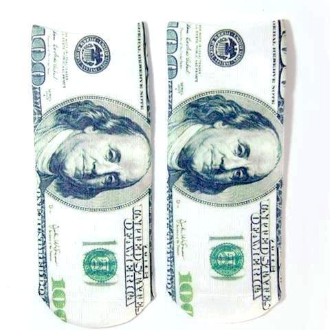 100 Dollar Bill Printed Crazy Men's Ankle Socks by SayItWithSocks.co