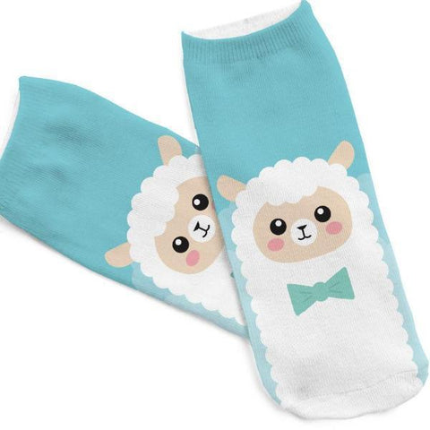 Cute Llama Printed Women's Ankle Socks by SayItWithSocks.co