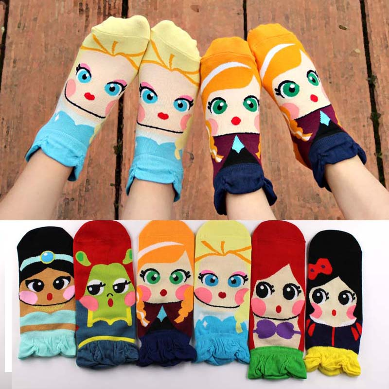 Cute Princess Cartoon Girl's Ankle Socks by SayItWithSocks.co