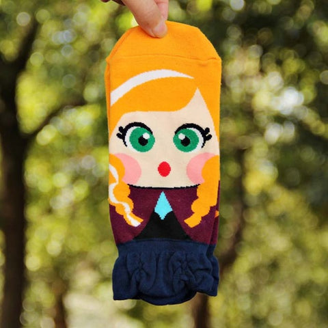 Image of Cute Princess Cartoon Girl's Ankle Socks