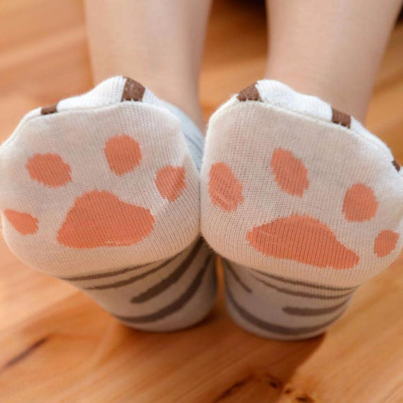 Cat Paws Printed Funny Women's Ankle Socks by SayItWithSocks.co