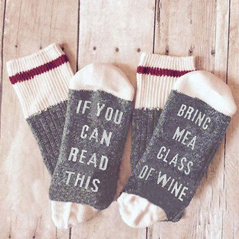 """If You Can Read This, Bring Me a Glass of Wine"" Printed Crew Socks by by SayItWithSocks.co"