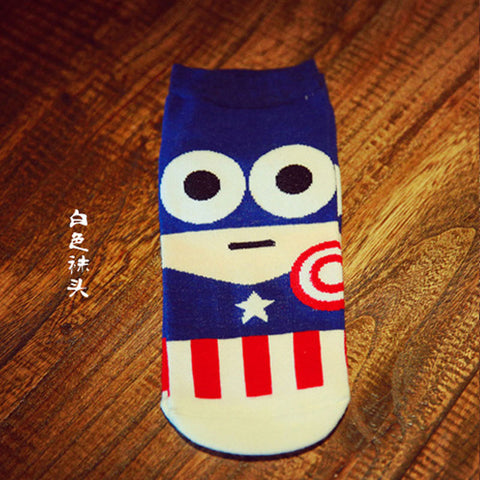 Funny Cartoon Heroes Men's Ankle Socks by SayItWithSocks.co