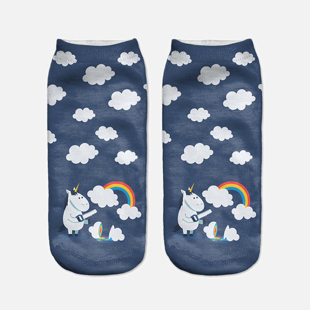 Unicorn Sawing Cloud Printed Lovely Women's Ankle Socks by SayItWithSocks.co