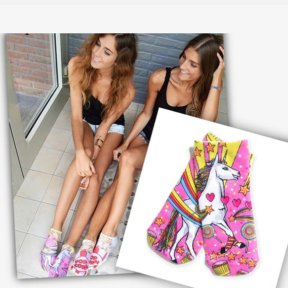 Unicorn Rainbow Sketch Printed Colorful Women's Ankle Socks by SayItWithSocks.co