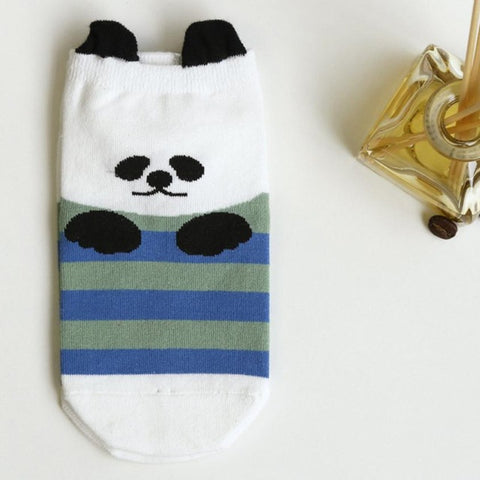 Animals Cartoon Striped Cute Women's Ankle Socks