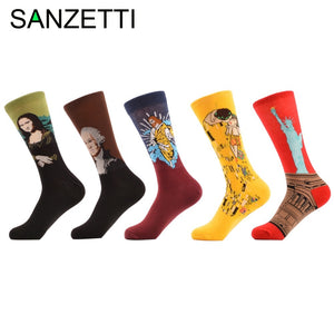 5 Pairs of Colorful History Men's Crew Socks