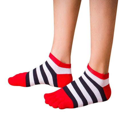 Funny Striped Five Finger Toe Socks for Women