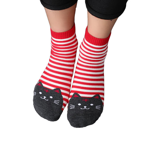 Striped Cat Printed Cute Women's Crew Socks by SayItWithSocks.co