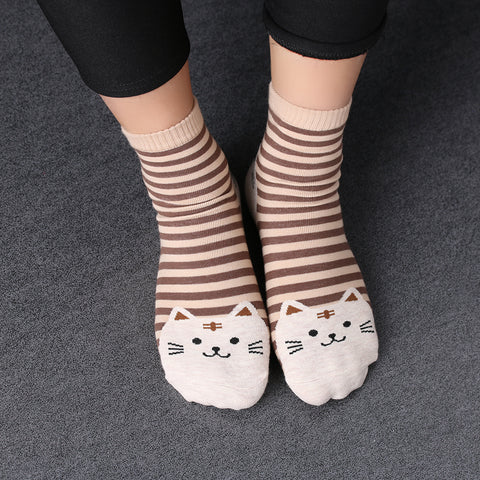 Striped Cat Printed Cute Women's Crew Socks