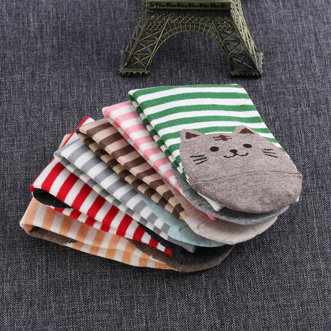 Image of Striped Cat Printed Cute Women's Crew Socks