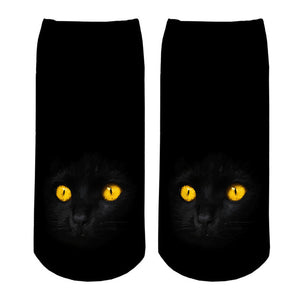 Crazy Black Cat, Yellow Eyes Women's Ankle Socks by SayItWithSocks.co
