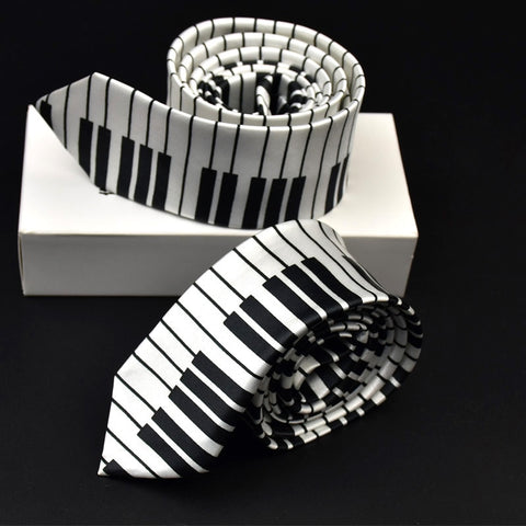 Image of Black White Plaid Music Note Tie by SayItWithSocks.co