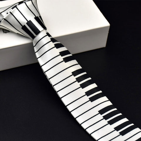 Black White Plaid Music Note Tie