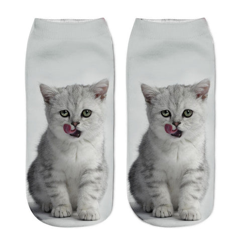 Image of Popular 3D Cat Printed Funny Women's Ankle Socks by SayItWithSocks.co