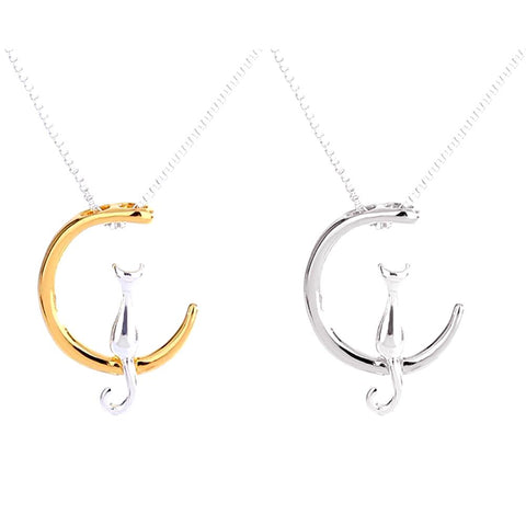Image of Lovely Gold or Silver Moon Cat Necklace for Women by SayItWithSocks.co