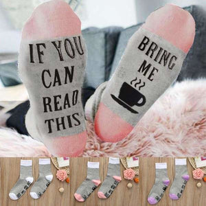 """Bring Me Coffee"" Printed Cool Women's Ankle Socks"