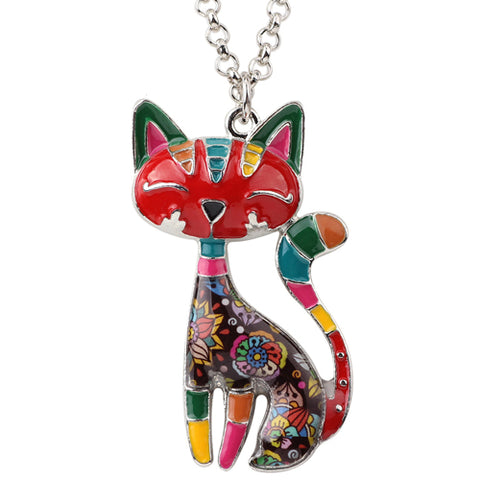 Colorful Enamel Cat Necklaces for Women
