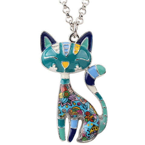 Image of Colorful Enamel Cat Necklaces for Women