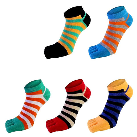 Colorful Striped Five Finger Toe Sock by SayItWithSocks.co