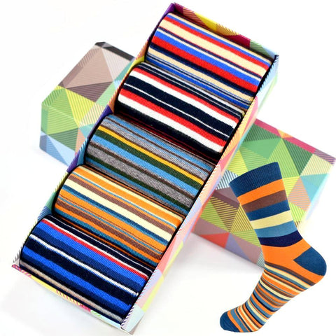 5 Pairs of Casual Colorful Striped Men's Socks by SayItWithSocks.co