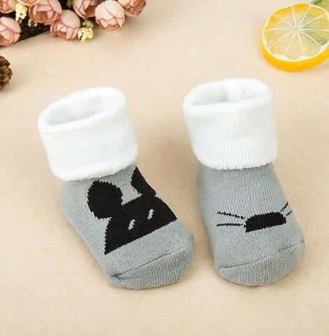 Striped Newborn Warm Baby Socks Slippers by SayItWithSocks.co