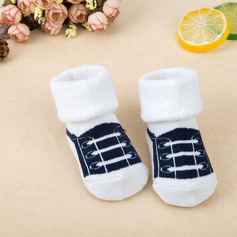 Image of Striped Newborn Warm Baby Socks Slippers by SayItWithSocks.co