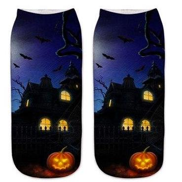 Image of Cute Halloween Pumpkin Cat and Bat Socks by SayItWithSocks.co