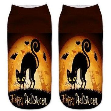 Cute Halloween Pumpkin Cat and Bat Socks