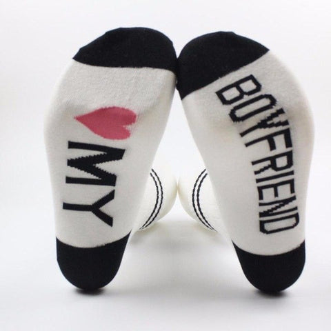 Funny Letter Printed Women's Crew Socks by SayItWithSocks.co