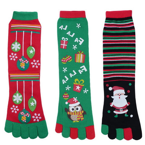 Cute Christmas Five Finger Toe Socks for Women