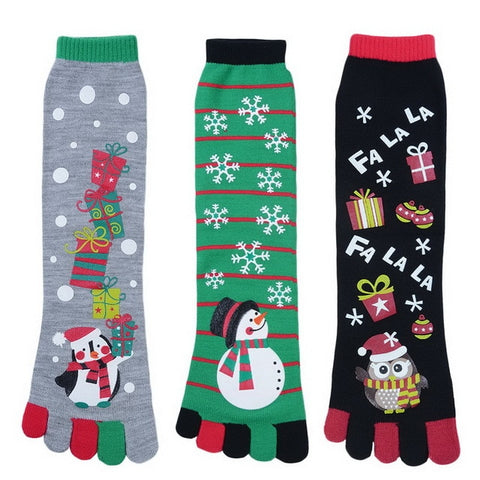 Cute Christmas Five Finger Toe Socks for Women by SayItWithSocks.co