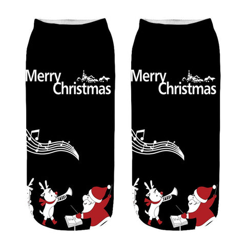 Funny 3D Cartoon Christmas Ankle Socks