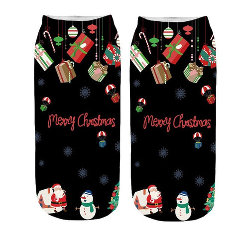 Funny 3D Cartoon Christmas Ankle Socks by SayItWithSocks.co