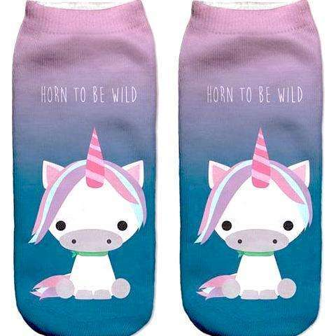 """Horn to be Wild"" Unicorn Printed Funny Women's Ankle Socks by sayitwithsocks.co"