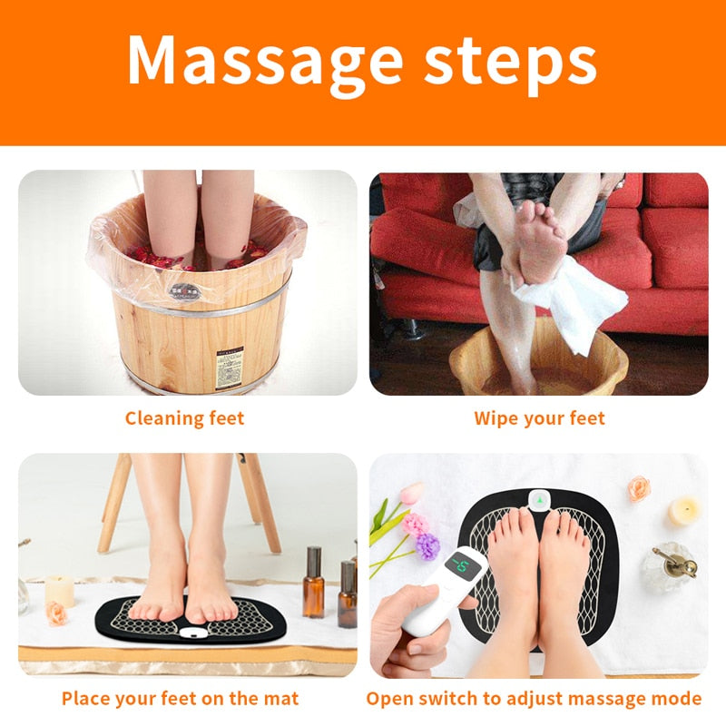 New Remote Control EMS Foot Massager Wireless ABS Muscle Stimulator Physiotherapy USB Rechargeable Revitalizing Pedicure Tens